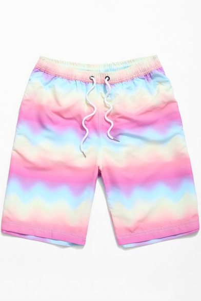 New Trendy Ombre Rainbow Drawstring Waist Pink Casual Swim Trunks for Men