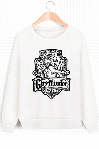 Popular Gryffindor University Logo Printed Round Neck Long Sleeve White Sweatshirt