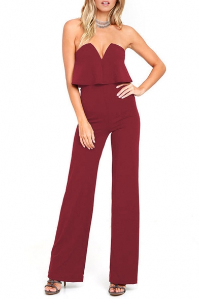 Stylish Plain V-Neck Sleeveless Ruffle Details Jumpsuit For Women