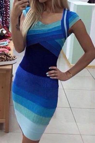 Summer Blue Omber Striped V-Neck Cap Sleeve Mini Bodycon Dress