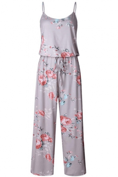 Summer Chic Floral Printed Spaghetti Straps Drawstring Waist Casual Relaxed Jumpsuits