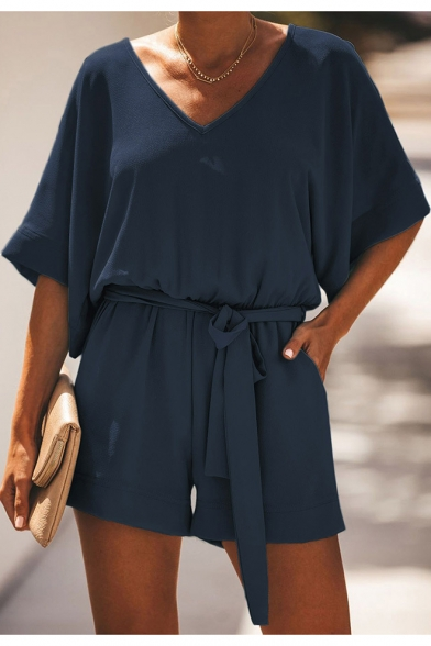 Summer Womens Casual Loose V-Neck Short Sleeve Tied Waist Plain Playsuits Rompers
