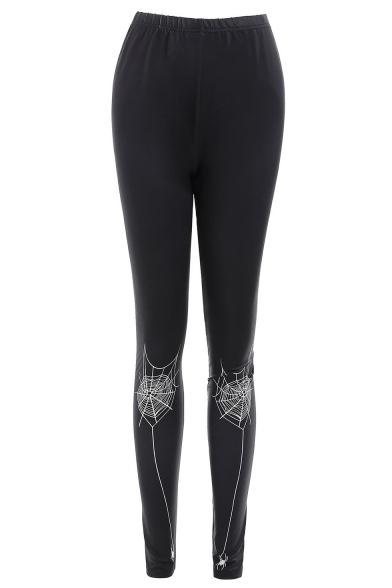 Unique Cool Spider Web Printed Elastic Waist Black Stretch Slim Fit Leggings