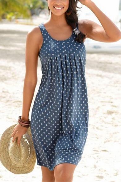 Women's New Trendy Blue Boho Print Scoop Neck Sleeveless Mini Holiday Dress
