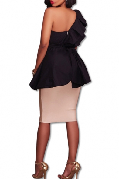 Women's Ruffle Cut Out One Shoulder Back Zipper Midi Wrap Dress