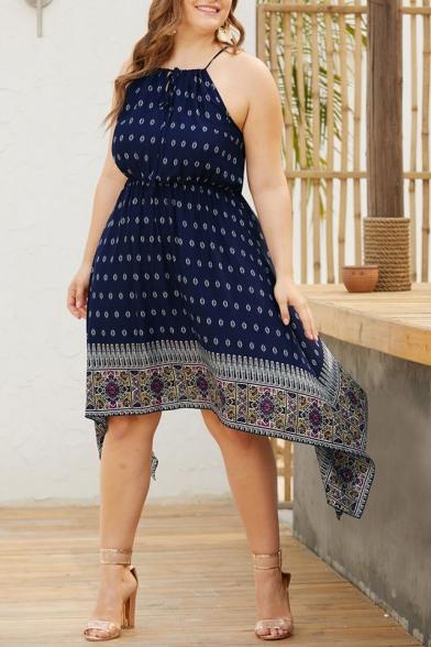 Women's Summer Vintage Printed Tie Halter Sleeveless Midi Plus Size Dress
