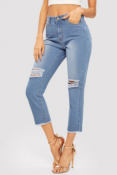 Womens Blue Fashion Destroyed Ripped Raw Edge Capri Jeans
