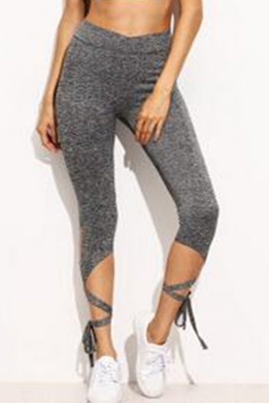 Womens Heather Grey Fashion Tied Cuff Cropped Fitness Leggings
