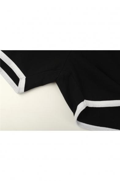 Womens Hot Fashion Letter DRACARYS Print Chic Contrast Trim Sport Dolphin Shorts