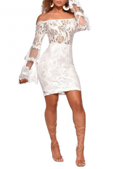 Womens Hot Fashion Sexy Off the Shoulder Long Sleeve Mini Bodycon Lace Dress Night Club Dress