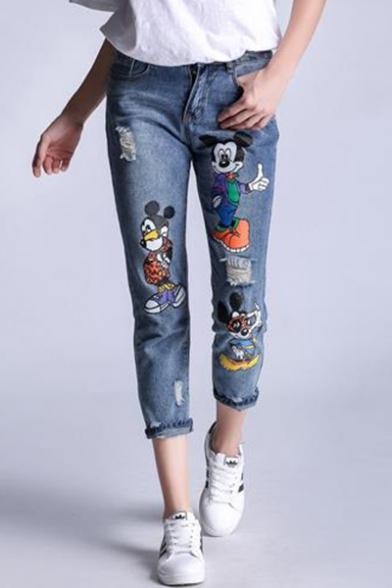 Womens New Fashion Cute Cartoon Figure Printed Regular Fit Blue Capri Jeans