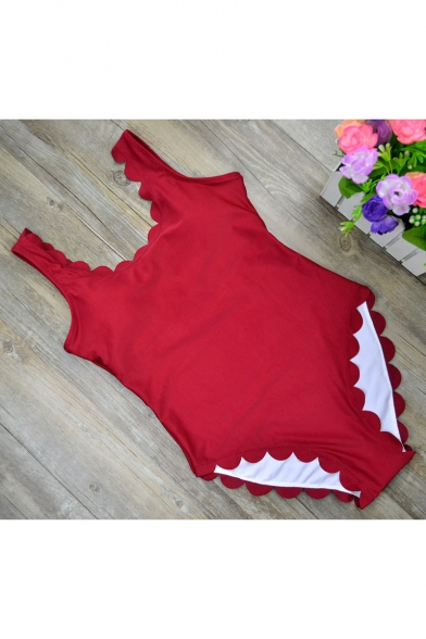 Womens Stylish Scalloped Edges Sleeveless Scoop Neck Solid Color Fitted One Piece Swimwear