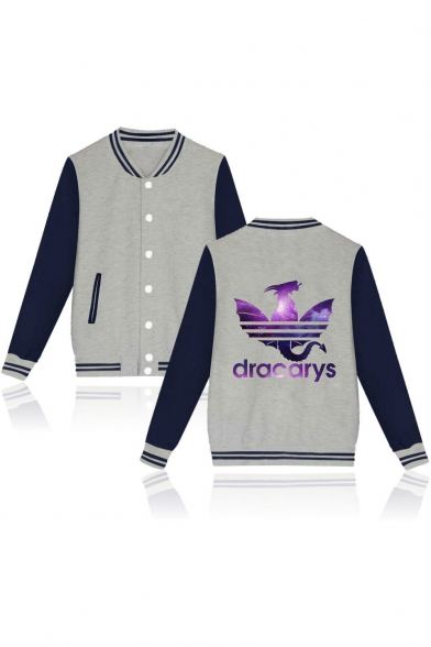 Fashion Purple Galaxy Dragon Dracarys Print Rib Stand Collar Button Down Varsity Baseball Jacket