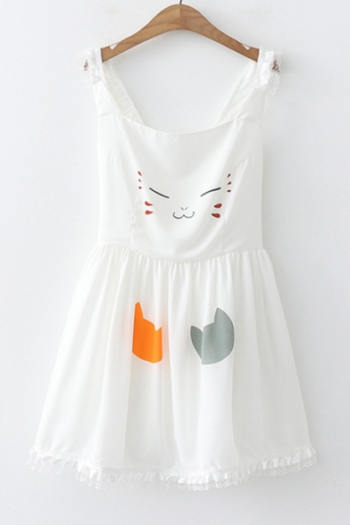 Girls Summer Lovely Cartoon Cat Printed Lace-Trim Mini A-Line Cami Dress