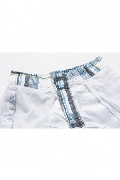 Guys Summer Fashion Plaid Printed Casual Loose Beach Swim Trunks