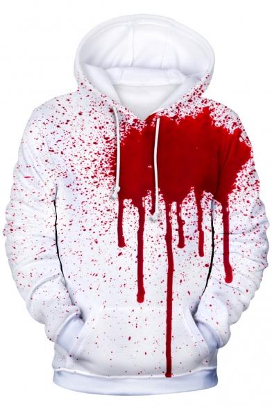 Halloween Horror Blood 3D Printing Long Sleeve Unisex White Hoodie