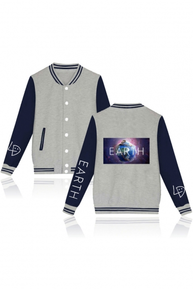 f4bc864d2 Hot Fashion Galaxy Earth Printed Colorblock Long Sleeve Button Down