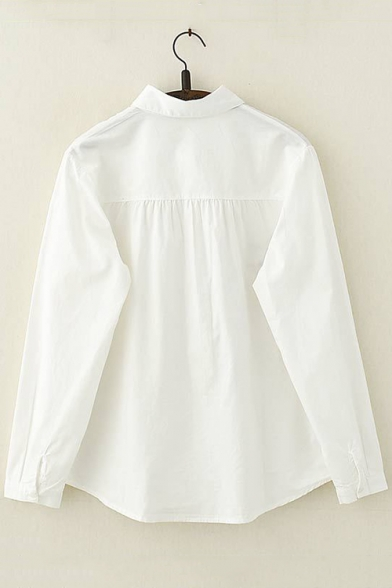 Lovely Allover Cartoon Rabbit Embroidery Long Sleeve Relaxed White Shirt