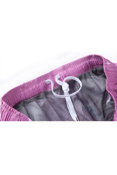 Lovely Cartoon Cat Printed Elastic Waist Mens Purple Swim Trunks with Liner