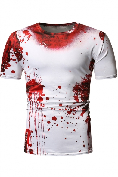 Men's Hot Style Tie-Dye Blood Printed Round Neck Short Sleeve Loose Basic Red T-Shirt
