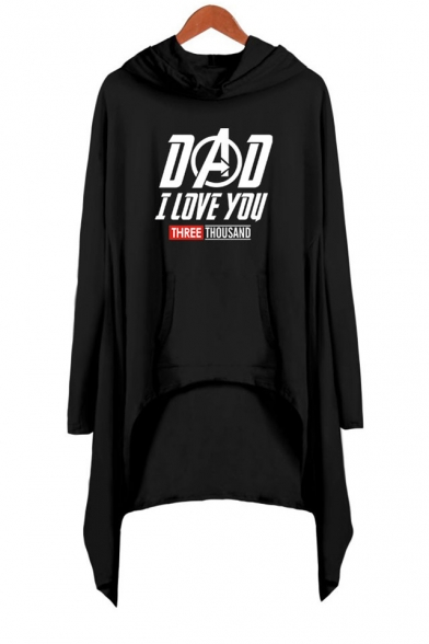New Popular Letter DAD I LOVE YOU THREE THOUSAND Hooded Long Sleeve Loose Fit Asymmetrical Dress