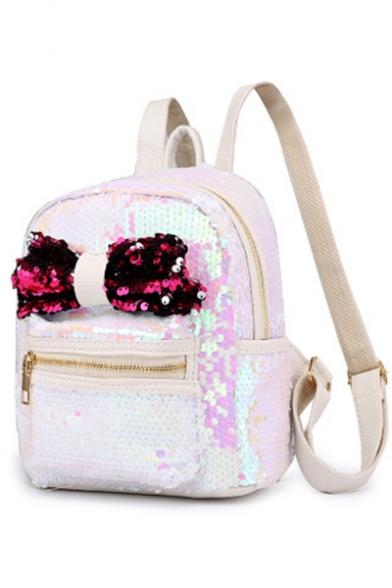 New Stylish Plain Bow-knot Embellishment Sequined Backpack 21*12*25 CM