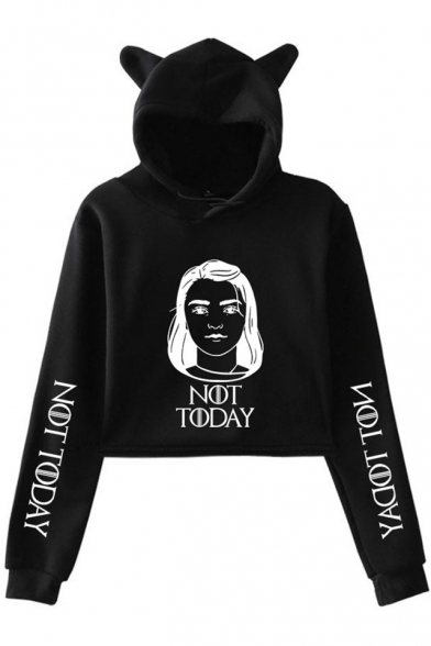 New Trendy Figure Letter NOT TODAY Long Sleeve Cute Cat Ear Cropped Hoodie, Black;dark navy;pink;white;gray, LM521653
