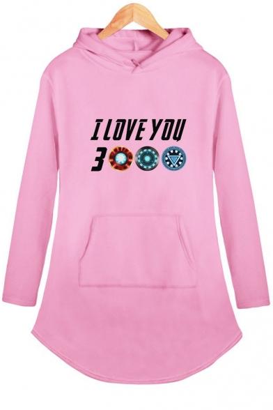 Popular Unique Letter I Love You 3000 Long Sleeve Shift Hooded Dress