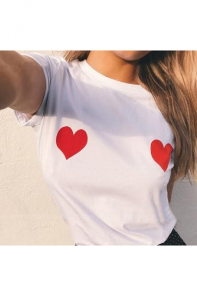 Summer Cute Funny Sweet Heart Print Chest Round Neck Short Sleeve White Tee
