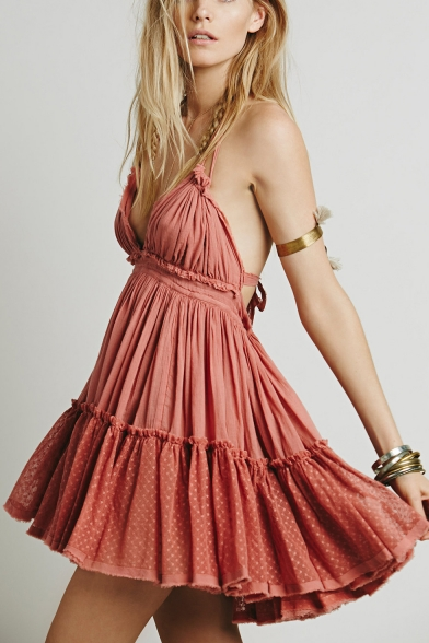 Summer Holiday Beach Simple Plain Halter Neck Ruffled Mini Cotton A-Line Dress