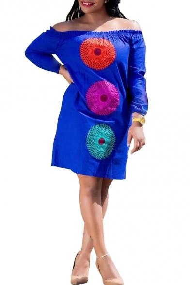 Summer Hot Sale Circle Print Off The Shoulder Long Sleeve Mini Dress for Women