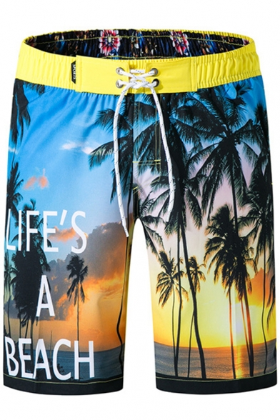 Summer Tropical Yellow Coconut Palm Letter LIFE'S A BEACH Surfing Shorts Swim Trunks
