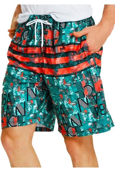 Summer Vintage Pattern Pocket Side Men's Holiday Beach Swim Trunks with Liner