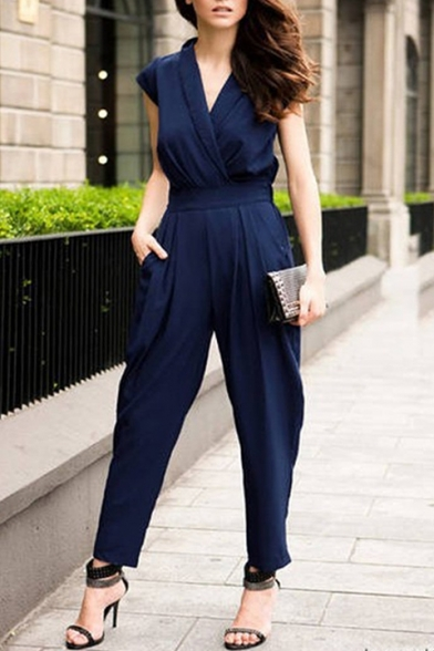 Women Casual Plain Short Sleeve V-Neck Pockets Side Rompers Jumpsuits
