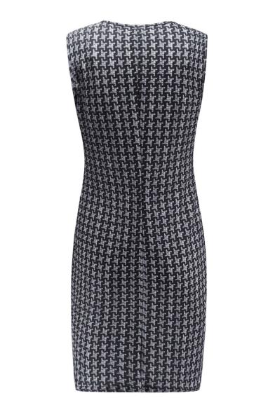 Women's Hot Fashion Print Button Detail V-Neck Split Side Sleeveless Mini Tank Dress