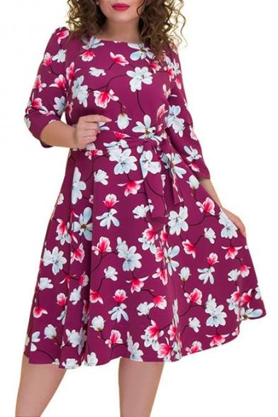 Women's Hot Fashion Round Neck 3/4 Sleeve Bow-Tied Waist Floral Print Plus Size Midi Swing Dress