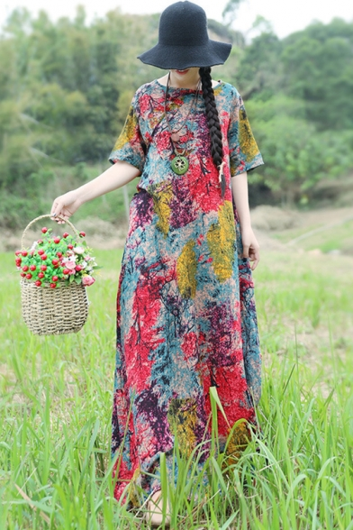 Women's Hot Fashion Tribal Print Round Neck Retro Frog Button Front Loose Maxi Linen Dress