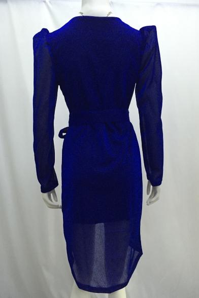 Women's Hot Fashion V-Neck Long Sleeve Plain Pattern Tied Waist Mini slit Bodycon Dress