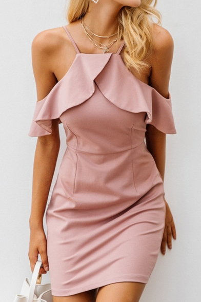 Women's Hot Sale Plain Printed Cold Shoulder Short Sleeve Ruffle Detail Mini Slip Pink Dress