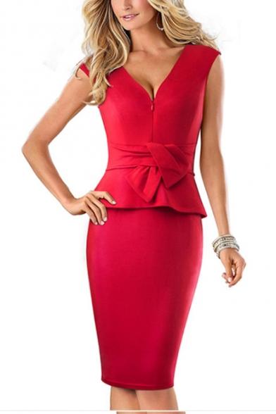 Women's Sexy Trendy V-Neck Sleeveless Plain Pattern Tied Waist Slim Fit Midi Pencil Dress LM526062 фото