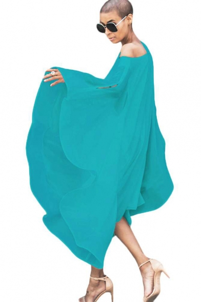 Women's Summer Simple Plain Cut Out One Shoulder Long Sleeve Midi Loose Asymmetrical Chiffon Dress