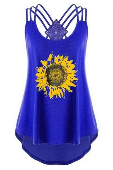 Women's Summer Sunflower Printed Strappy Scoop Neck Tank Top