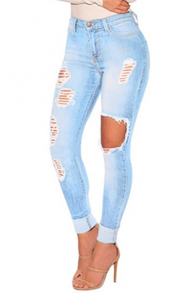 326da8a0ef Womens Fashion Light Blue Distressed Ripped Knee Cut Skinny Fit Jeans with  Hole ...
