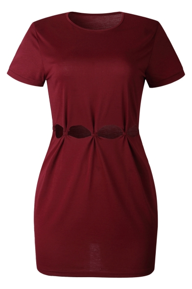 Womens New Style Solid Color Round Neck Short Sleeve Cut Out Waist Mini T-Shirt Dress