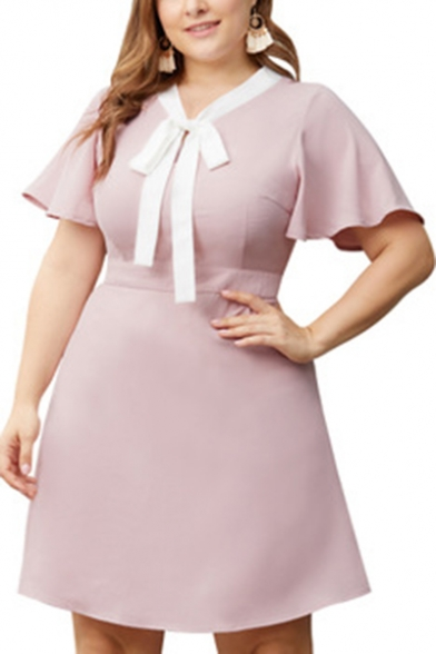 Womens Plus Size Chic Bow-Tied Collar Short Sleeve Pink Mini A-Line