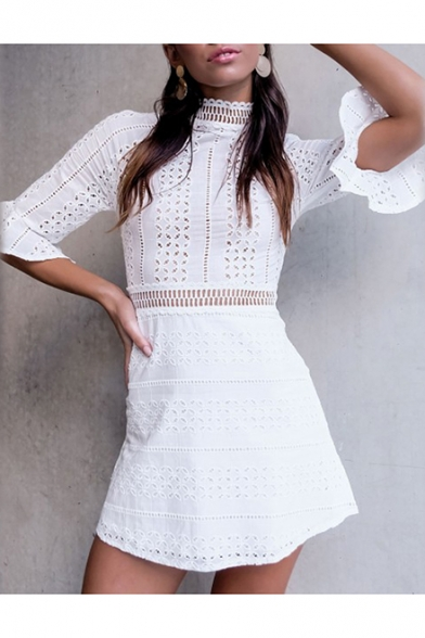 Womens Sexy Hollow Out Lace High Neck Flared Cuff White Mini A-Line Dress