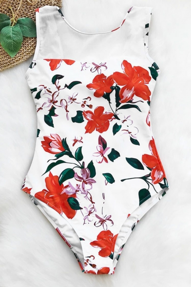 Womens Trendy Floral Pattern Round Neck Open Back White One Piece Swimsuit