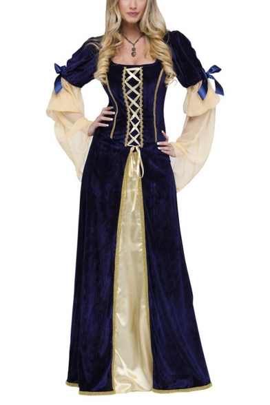 Womens Vintage Medieval Costume Square Neck Long Sleeve Lace Up Cosplay Princess Maxi Blue Dress