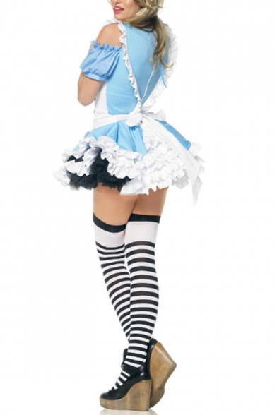 Girls Halloween Princess Cosplay Costume Puff Sleeve Cold Shoulder Ruffled Hem Mini Blue Dress