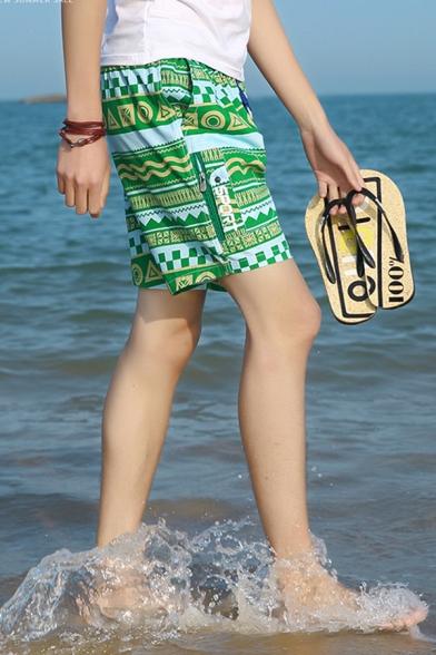 Guys Summer Fashion Tribal Geometric Printed Cotton Loose Sport Swim Shorts